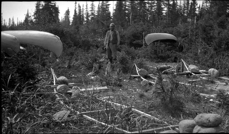 "Innu canoe making ""factory."" Photo E.M. Kindle taken in 1921/Canoe-making at Sheshatshiu, 1921 (photo E.M. Kindle). Reproduced with the permission of the Minister of Public Works and Government Services Canada, 2005 and Courtesy of Natural Resources Canada, Geological Survey of Canada."