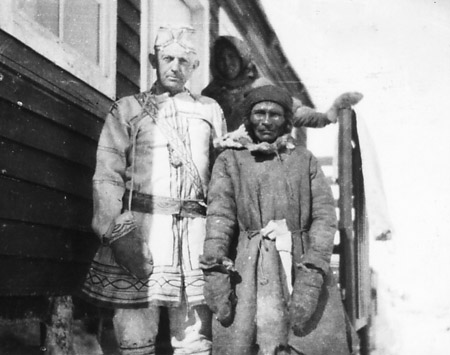 Independent trader, Mishti Uait (Richard White), and two unidentified Innu people at Emish, ca. 1930. Photo Judy-Pauline Hunter White, courtesy Winston White.